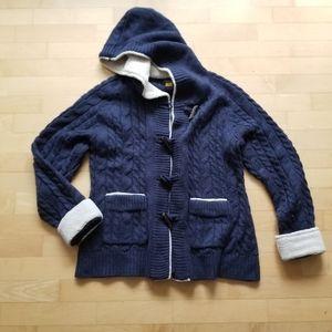 Cabela's cable knit Cardigan Large Navy Blue
